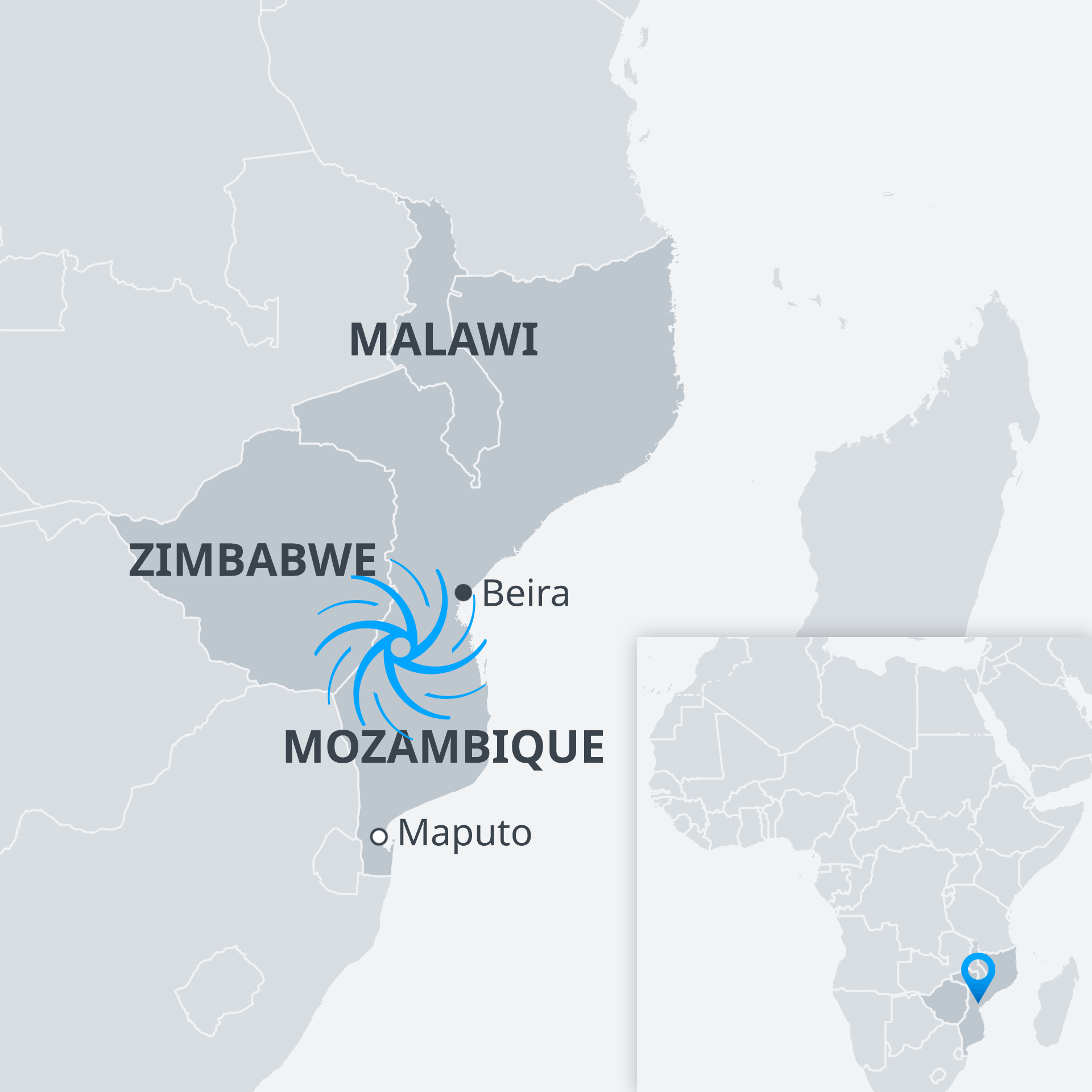 Map of Cyclone Idai's path in Mozambique