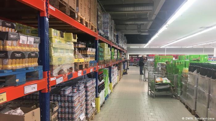Shelves reach to the ceiling