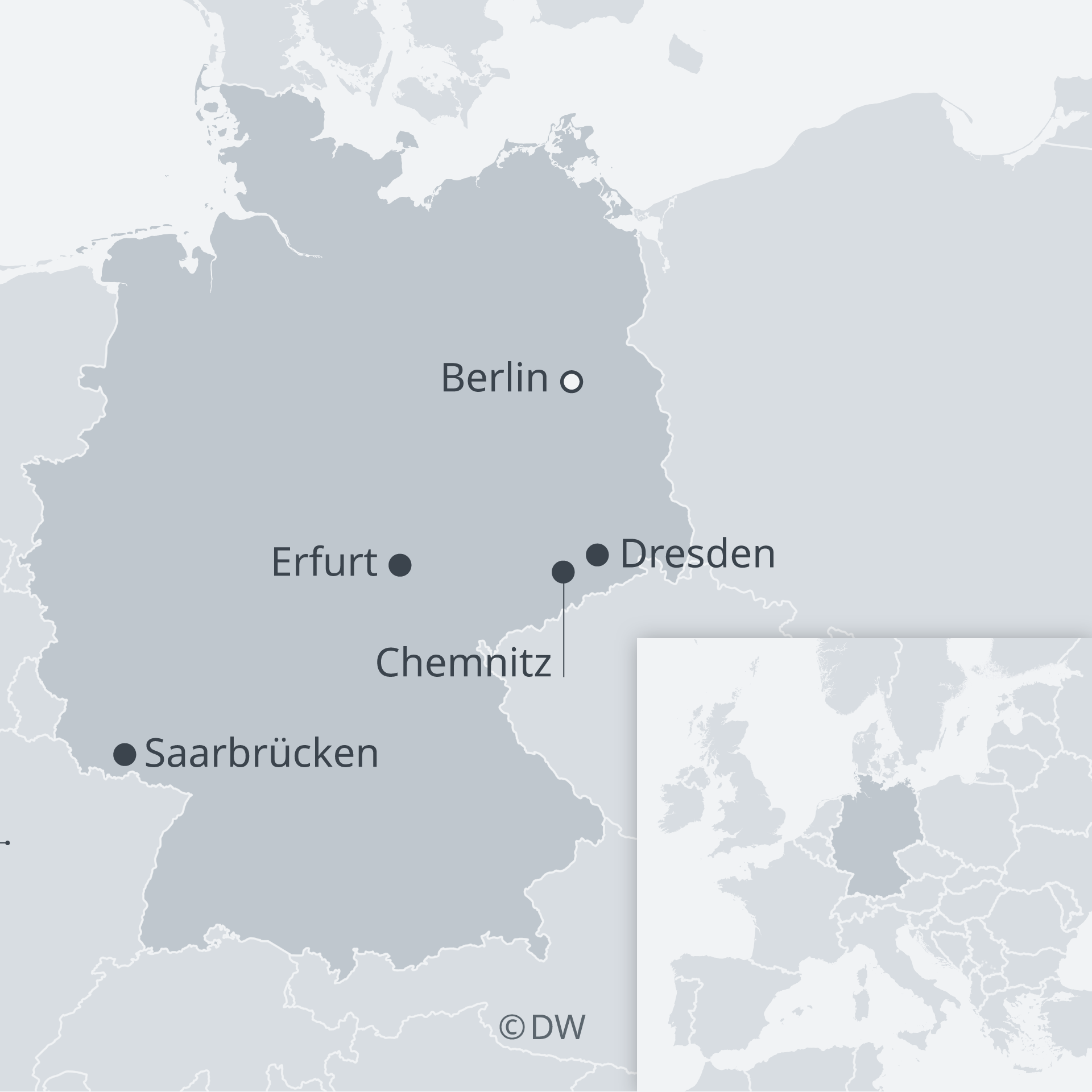A map of Germany showing Saarbrücken, Chemnitz, Dresden, Erfurt and Berlin