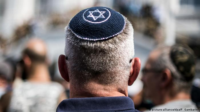 A man wearing a yarmulke