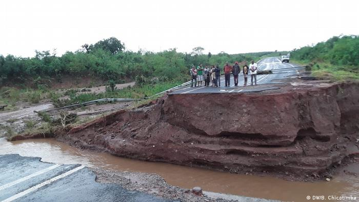 In both Mozambique (pictured) and Zimbabwe, some roads were swallowed up by massive sinkholes, while flash floods ripped bridges to pieces .This is the worst infrastructural damage we have ever had, Zimbabwe's Transport and Infrastructural Development Minister Joel Biggie Matiza said.