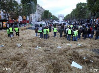 Protesters on the Champs Elysees in Paris