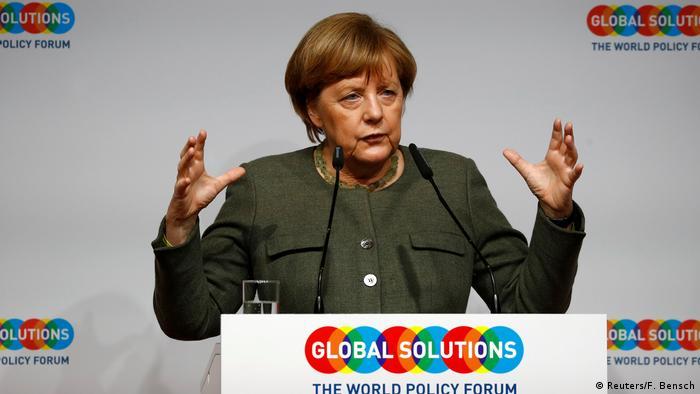 Ангела Меркель выступает на форуме Global Solutions Summit