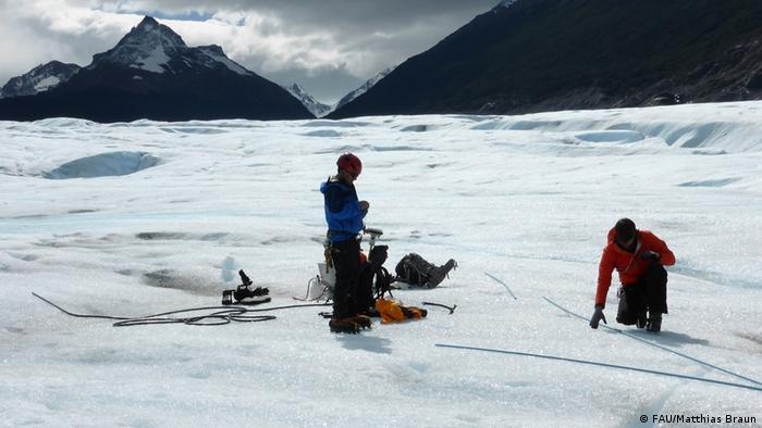 Proyecto de medición del glaciar Grey, realizado por investigadores de la Universidad Erlangen-Núremberg. (Archivo).
