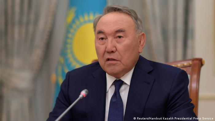 Kazakhstan's President Nursultan Nazarbayev speaks during a televised address to inform of his resignation in Astana, Kazakhstan March 19, 2019 (Reuters/Handout Kazakh Presidential Press Service)