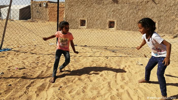 Sahraui children playing at a refugee camp in Algeria