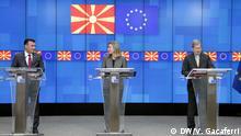 Oktober 2018 Zoran Zaev Prime Minister of Macedonia, Federika Mogherini, EU Special Representative for Foreign Relations, and Johanes Hahn, EU Comissioner for Enlragment. Virtyt Gacaferri, shot on October 2018, Brussels