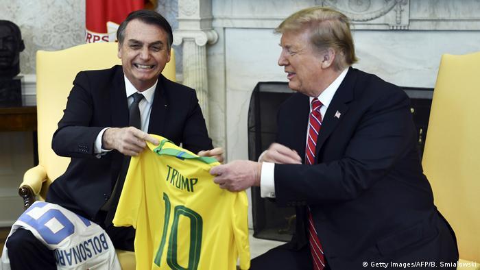 Presidente Jair Bolsonaro em encontro com Donald Trump na Casa Branca