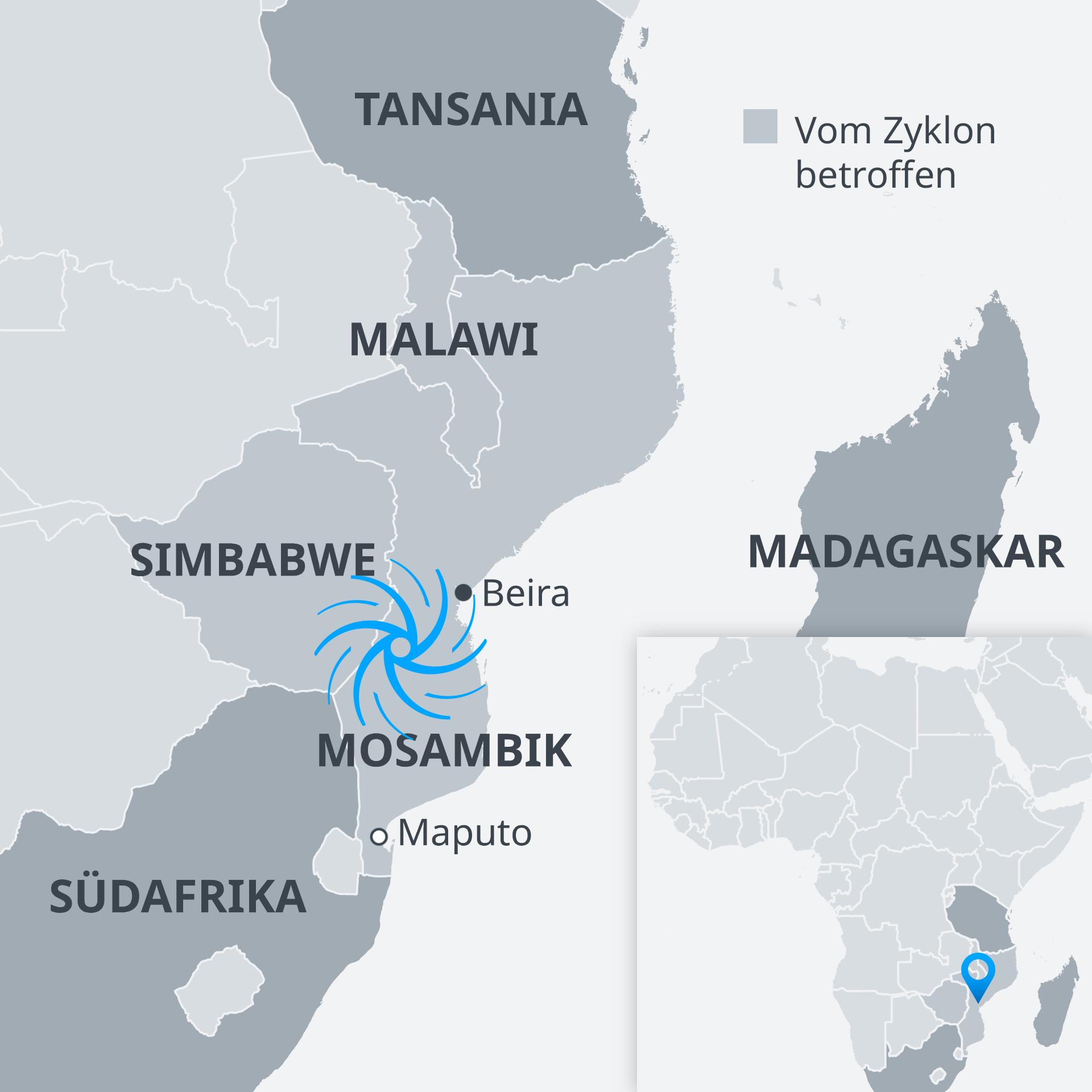 Mosambik Karte.Zyklon Idai Hinterlässt Spur Der Verwüstung Im Süden Afrikas