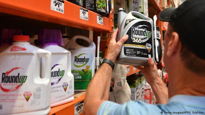 A customer shops for Roundup products at a store in San Rafael, California.