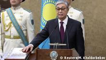 Kassym-Jomart Tokayev takes the oath after he assumed the post of Kazakhstan's President during a joint session of the houses of parliament in Astana, Kazakhstan March 20, 2019. REUTERS/Mukhtar Kholdorbekov