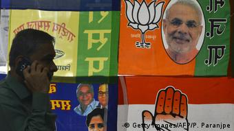 A shop in India displaying election paraphernalia. This year's elections will cost 8-9 billion euros