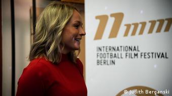 Germany goalkeeper Lisa Schmitz at the 11mm Film Festival in Berlin