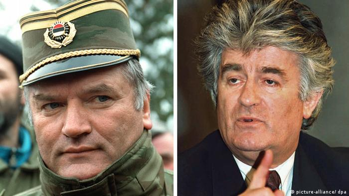 Ratko Mladic in military uniform and Radovan Karadzic