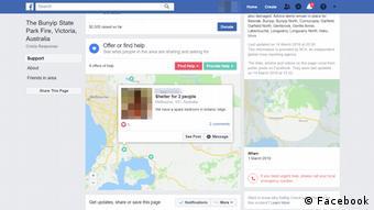 Screenshot Facebook Crisis Response