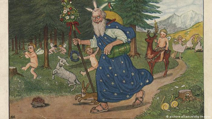 Открытка Добрый боженька идет по лесу, и все живое радуется