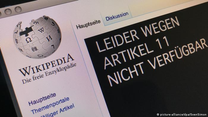 An image of the German-language Wikipedia's homepage as the site takes part in a protest against planned changes to EU copyright law