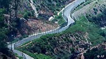 Border fences between Spanish enclave of Ceuta and Morocco