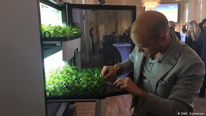 Man looking at vertically farmed plants
