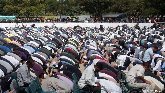 Muslims praying in Hagley Park, Christchurch