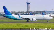 Indonesien Boeing 737 MAX 8 der Garuda Indonesia auf dem Flughafen Jakarta