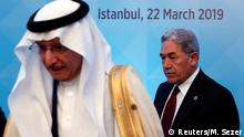 New Zealand's Foreign Minister Winston Peters attends an emergency meeting of the Organisation of Islamic Cooperation (OIC) in Istanbul, Turkey, March 22, 2019. Secretary General of the OIC Yousef bin Ahmad Al-Othaimeen is seen on the left. REUTERS/Murad Sezer