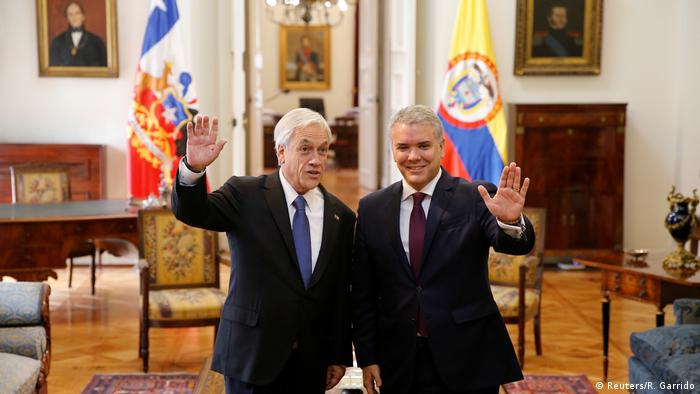 Chile Santiago Staatsbesuch Präsident Ivan Duque (L) aus Kolumbien mit Sebastian Pinera
