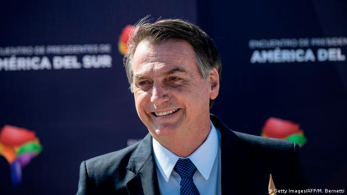 Chile Santiago Staatsbesuch Präsident Bolsonaro Brasilien (Getty Images/AFP/M. Bernetti)