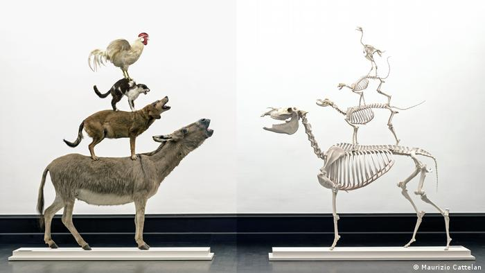 two sculptures showing four animals standing on each other's back, one in the flesh, the other showing only skeletal remains (Maurizio Cattelan)