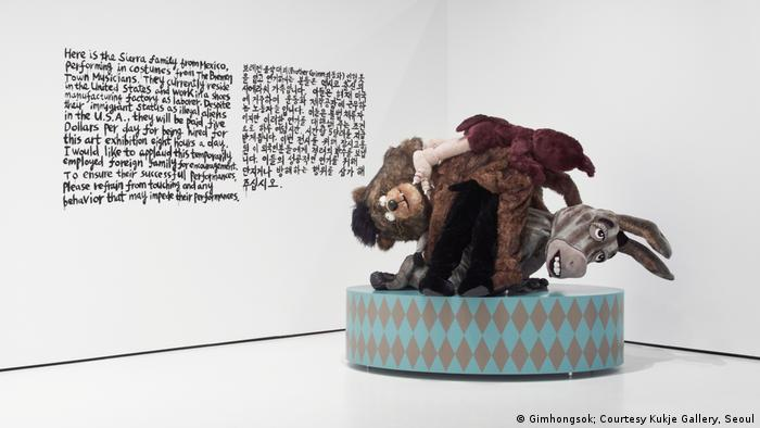 four fury animal mannequins piled on a podium (Gimhongsok; Courtesy Kukje Gallery, Seoul)