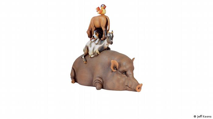 Five animals stacked on top of each other (Jeff Koons)