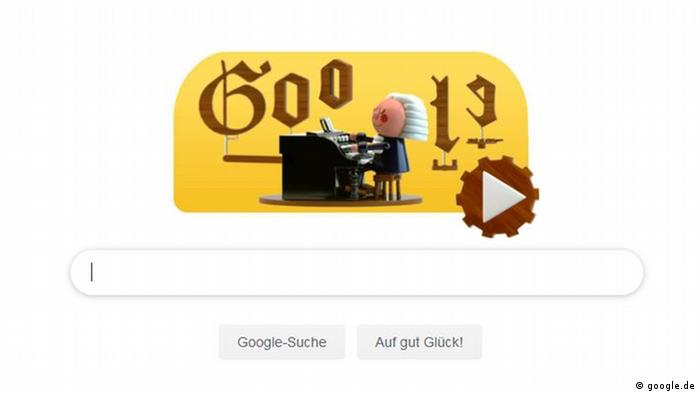 Screenshot Google search engine with a bewigged puppet sitting at a tiny organ and an arrow inviting the user to engage in an interactive exercise. (google.de)