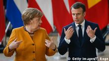 Chancellor of Germany Angela Merkel and President of France Emmanuel Macron pictured during a family photo during the second day of the EU summit meeting, Friday 22 March 2019, at the European Union headquarters in Brussels. BELGA PHOTO THIERRY ROGE (Photo credit should read THIERRY ROGE/AFP/Getty Images)