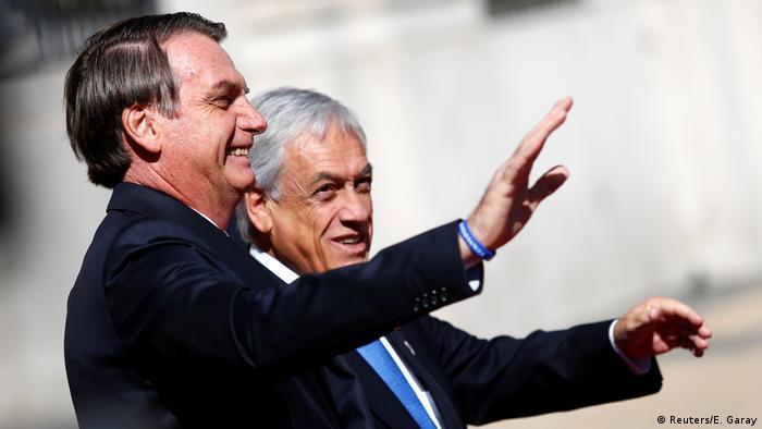 Chile Prosur-Gipfel in Chile | Jair Bolsonaro, Präsident Brasilien & Sebastian Pinera, Chile (Reuters/E. Garay)