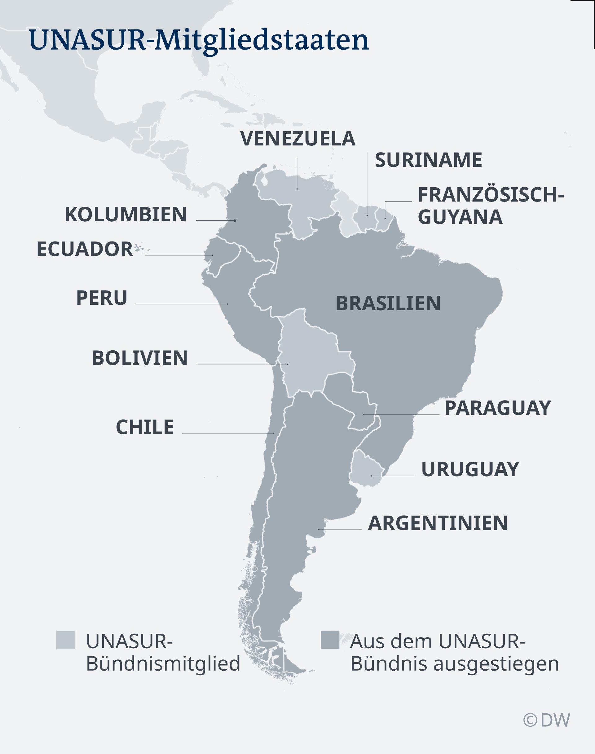 Infografik Mitgliedsländer UNASUR DE