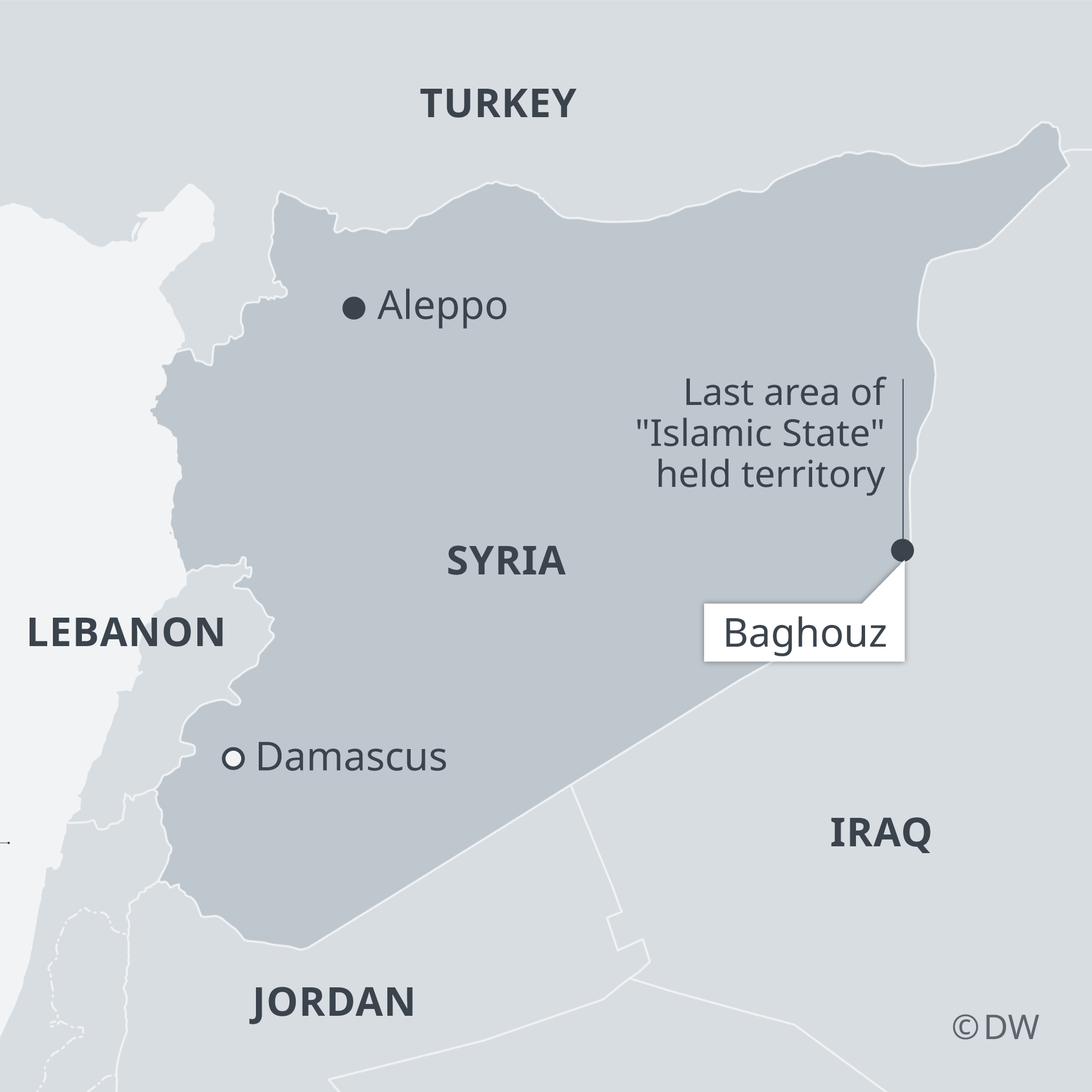 A map showing Syria, Lebanon, Jordan, Iraq and Turkey