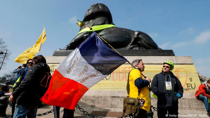Yellow vest protesters gather on Denfert Rochereau
