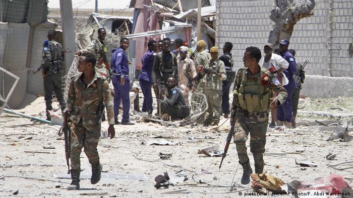 Aftermath of an explosion in Mogadishu, Somalia