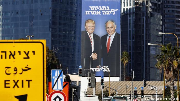 Israel Tel Aviv Trump und Netanjahu auf Werbetafel