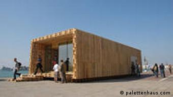 A pallet house on show in Vienna