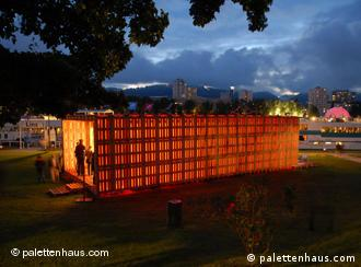 A pallet house on display in Linz, Austria - European Capital of Culture 2008