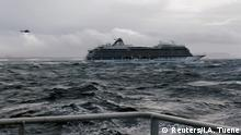 A cruise ship Viking Sky drifts towards land after an engine failure, Hustadvika, Norway March 23, 2019, in this still image obtained from a social media video (Reuters/I.A. Tuene)