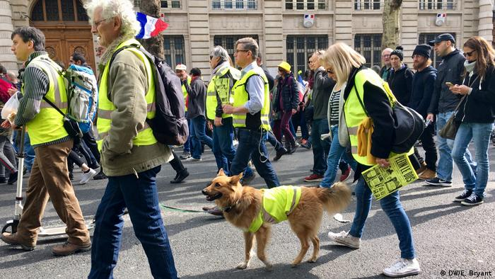 Yellow vest protesters walk down the street in France