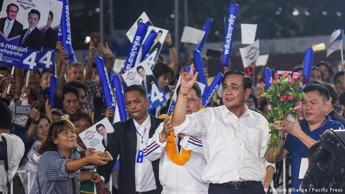 Thai Prime Minister Prayuth Chan-ocha delivers a speech during an election campaign rally in Bangkok