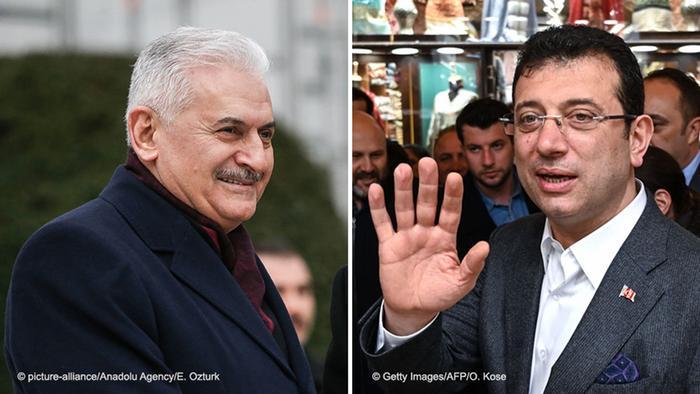 Dwóch rywali w Stambule: kandydat AKP Binali Yildirim (z l.) i CHP Ekrem Imamoglu
