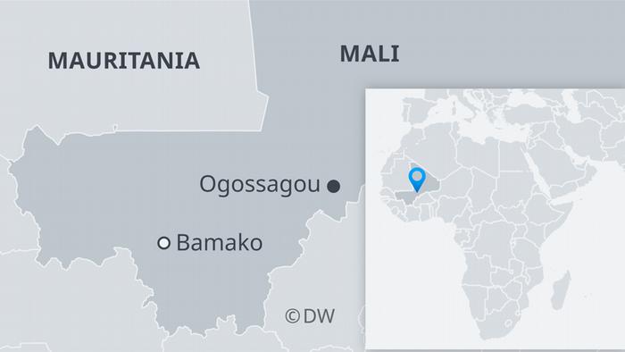 Infografik Karte Mali mit dem Dorf Ogossagou ES