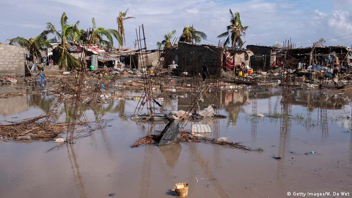 Área residencial inundada na cidade da Beira, a 23 de março.