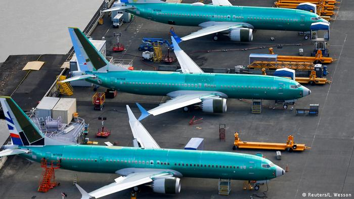 Boeing 737 MAX planes parked at the Boeing factory in Renton, Washington