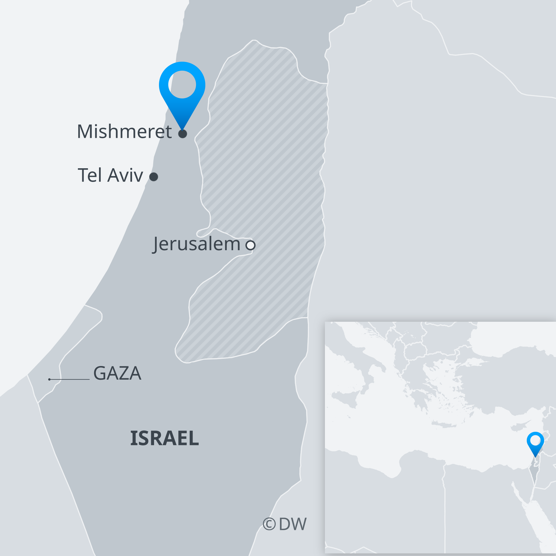 Map of Israel showing Mishmeret