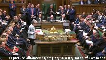 Theresa May Brexit statement. Prime Minister Theresa May makes a statement on Brexit to the House of Commons, London. Issue date: Monday March 25, 2019. See PA story POLITICS Brexit. Photo credit should read: House of Commons/PA Wirecopyright holder. Prime Minister Theresa May makes a statement on Brexit to the House of Commons, London. PRESS ASSOCIATION Photo. Issue date: Monday March 25, 2019. See PA story POLITICS Brexit. Photo credit should read: House of Commons/PA Wire NOTE TO EDITORS: This handout photo may only be used in for editorial reporting purposes for the contemporaneous illustration of events, things or the people in the image or facts mentioned in the caption. Reuse of the picture may require further permission from the copyright holder. URN:41971510 |